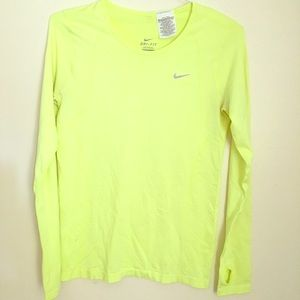 Nike Neon Yellow Dri Fit running exercise shirt